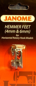 Hemmer FT Set 4mm & 6mm BP-1 for horizontal rotary machine: The Hemmer Foot creates straight, professional rolled hems on lightweight fabrics.