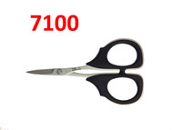 """The Kai 7100, 4 1/4 in. scissor is ideal for tasks that require a small but powerful cutting tool.  The blade is made of a high-carbon stainless steel that ensures a sharp cut, all-the-way to the tip.  It also features large handles made of """"Elastomer"""" soft plastic, which are designed for better leverage and ease of handling while cutting."""