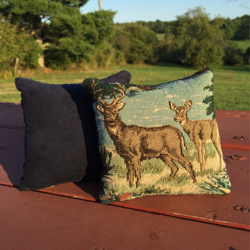 Deer Duo Small Tapestry Pillow