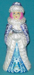PURPLE, BLUE & WHITE HAND PAINTED RUSSIAN TRADITIONAL SNOWMAIDEN w/ DOVE