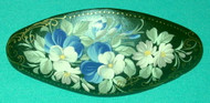 WHITE & BLUE FLORAL HAND CRAFTED RUSSIAN PAPIER MACHE BARRETTE #3256