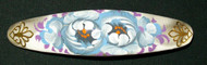 BEAUTIFUL BLUE, WHITE & PURPLE FLORAL PAPIER MACHE BARRETTE #3260