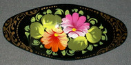 BEAUTIFUL HAND PAINTED PAPIER MACHE FLORAL BARRETTE #3183