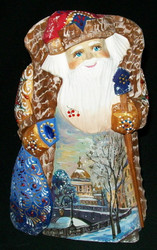 Hand Painted Santa Claus - RUSSIAN ORTHODOX CHURCH w/ GOLDEN ONION DOMES #8218