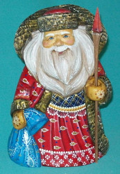 HAND PAINTED RED & BLUE OLD WORLD RUSSIAN SANTA CLAUS #8824