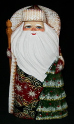 Golden Uzor Grandfather Frost w/ Christmas Tree #6844 Russian Linden Wood Santa