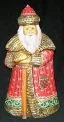 MARVELOUS RED, GREEN & GOLD HAND PAINTED OLD WORLD RUSSIAN SANTA CLAUS #8674