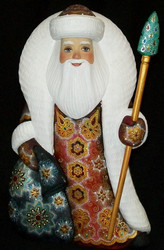 STRIKING RED & GOLD HAND CARVED & HAND PAINTED RUSSIAN SANTA CLAUS #4148