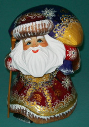 RUSSIAN GOLDEN STOOPED SANTA CLAUS w/ LARGE PACK #5407 HAND PAINTED STATUE