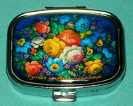 BEAUTIFUL BLUE FLORAL RUSSIAN PILL BOX #1305
