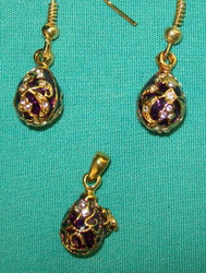 DEEP PURPLE FABERGE RUSSIAN EGG CHARM & EARRINGS EAGLE #2714