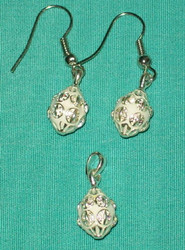 STUNNING CLASSIC Russian Faberge Egg Charm SILVER & WHITE w/ CRYSTALS #2721
