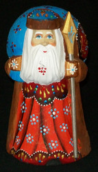 BEAUTIFUL SANTA CLAUS - OLD WORLD RUSSIAN STATUE #2283 BRIGHT RED & BLUE