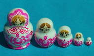 Cute Miniature 5 PC Russian GIRL Matryoshka Doll - Pink #0016