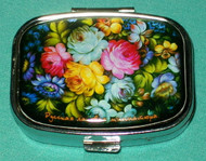 LOVELY BRIGHTLY COLORED RUSSIAN FLORAL PILL BOX #1308