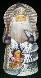 HANDPAINTED RUSSIAN SCENIC SANTA CLAUS w/ RUSSIAN SNOW MAIDEN #4259