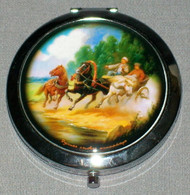 THREE HORSE DRAWN CARRIAGE ON RUSSIAN COMPACT MIRROR #0012