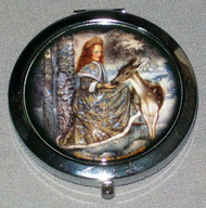BEAUTIFUL SNOW MAIDEN & DEER ON RUSSIAN COMPACT / MAKEUP MIRROR #0014