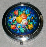 BEAUTIFUL BLUE FLORAL RUSSIAN COMPACT MIRROR #0028