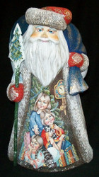 SWEET SISTERS w/ KITTENS - HAND PAINTED RUSSIAN WOODEN SANTA CLAUS STATUE #3543