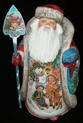 WOW! MAGNIFICENT HAND PAINTED SANTA CLAUS - WINTER WONDERLAND SCENES #0733