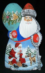 FUN, BRIGHTLY COLORED HAND PAINTED RUSSIAN SANTA #0433 - FRIENDLY REINDEER