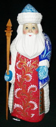 RED, WHITE & BLUE HANDPAINTED LINDEN WOOD RUSSIAN SANTA CLAUS - SNOWFLAKES #0578
