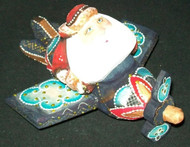 FUN HAND PAINTED RUSSIAN SANTA CLAUS FLYING AN AIRPLANE #5977