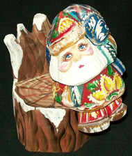 FUN HAND PAINTED RUSSIAN SANTA CLAUS SITTING ON A STUMP #8805