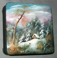 HAND PAINTED RUSSIAN MOTHER OF PEARL LACQUER BOX #3117 - CABIN ON A HILL