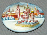 MOTHER OF PEARL Russian Hand Painted Lacquer Box - MOSCOW KREMLIN #4430