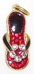 Handcrafted Russian Faberge Flip Flop Charm RED, BLACK & GOLD w/ CRYSTALS #1509