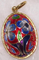 BRIGHT RED, BLUE, GREEN & GOLD FLORAL PATTERN Russian Faberge Egg Charm #1575