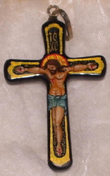Christ on the Cross #1630 - Handcrafted Russian Papier Mache Pendant