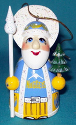 WOW! HAND CRAFTED DENVER NUGGETS WOODEN SANTA CLAUS TREE ORNAMENT