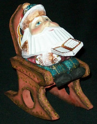 FUN HAND PAINTED RUSSIAN SANTA CLAUS IN A ROCKING CHAIR #4390