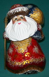 Stooped Grandfather Frost w/ Large Pack #5707 – Hand Carved Wooden Statue