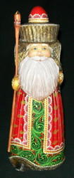 Handpainted Russian Santa Claus w/ Sweet Little Bear #7175 - Wooden Statue