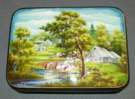 LOVELY MOTHER OF PEARL RUSSIAN LACQUER BOX - SUMMER VILLAGE w/ BRIDGE #3147