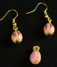 GLOWING ROSE-COLORED PINK & GOLD HANDCRAFTED RUSSIAN EGG CHARM & EARRINGS #2703