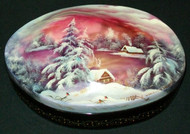 RUSSIAN LACQUER MOTHER OF PEARL HAND PAINTED FEDOSKINO BOX - BRIGHT SUNSET #4493