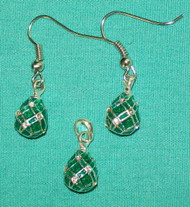 DAZZLING GREEN & SILVER HANDCRAFTED RUSSIAN EGG EARRINGS & CHARM #2716