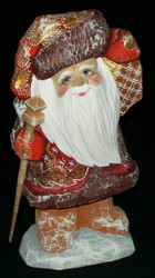 BRIGHT LANTERN - HAND CARVED & PAINTED RUSSIAN SANTA CLAUS #5215