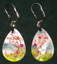 MOTHER OF PEARL HAND PAINTED TEARDROP RUSSIAN EARRINGS #2979 CHERRY BLOSSOMS