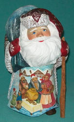 TREMENDOUS HAND PAINTED SANTA CLAUS - TRADITIONAL RUSSIAN SAMOVAR & LOVE BIRDS