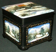 STUNNING HAND PAINTED RUSSIAN MOTHER OF PEARL LACQUER BOX #3200 – GOLDEN SUNSET