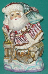 Russian Santa Claus Riding Sleigh w/ Orthodox Church & Golden Onion Domes #0928