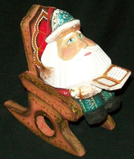 FUN HAND PAINTED RUSSIAN SANTA CLAUS IN A ROCKING CHAIR #4397