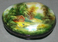 MOTHER OF PEARL HAND PAINTED FEDOSKINO RUSSIAN LACQUER BOX - SUMMER CABIN #4461