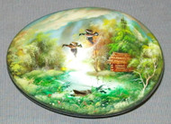 MOTHER OF PEARL HAND PAINTED FEDOSKINO RUSSIAN LACQUER BOX - SUMMER GEESE #0054
